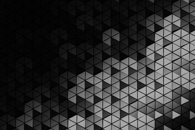 三角形で作られた多くの繰り返し六角形のパターン。モノクロの幾何学的な三次元パターン。