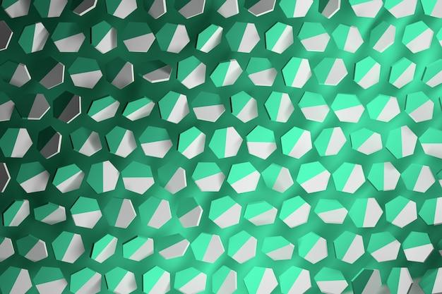 ミントグリーンと白のランダムな六角形の背景。