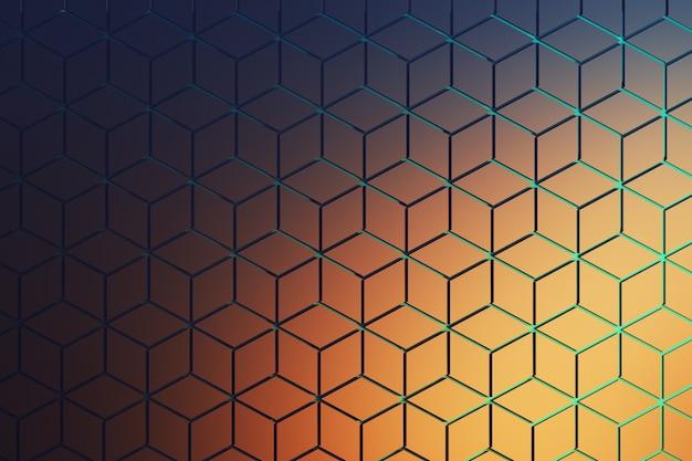 濃い青とオレンジ色の六角形模様の表面の正面図。六角形の形は、青い溝のある繰り返しパターンで配置されたひし形から成っています。