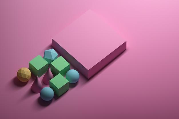 Геометрические примитивы и розовая коробка