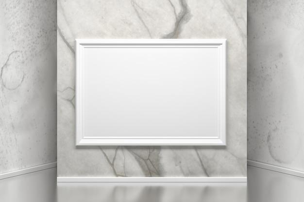 Мраморная стена с картинной рамкой в галерее.