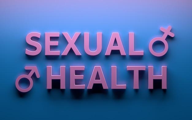 Слова «сексуальное здоровье» с признаками женского пола мужского пола, написанными жирными розовыми буквами на синем
