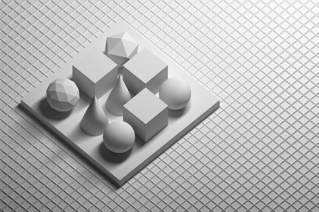 Сфера, конус, многоугольник, кубики, стоящие на постаменте над белой поверхностью, покрытой проволокой.