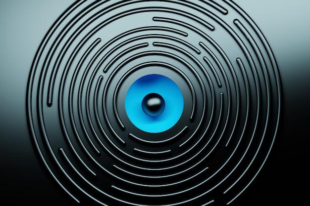 中心に青い球形の黒い表面に黒い円形と抽象的な背景。