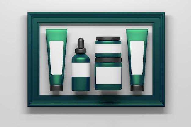 Набор зеленой косметики, упаковывающей бутылки, тубы с белыми прозрачными этикетками в большой зеленой рамке