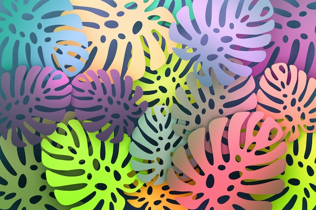 大きなモンステラの葉とカラフルな鮮やかな熱帯パターン