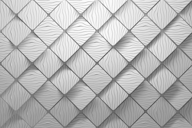 多角形の幾何学的な正方形の形と丸みを帯びたエッジを持つ白い色の波状の溝を持つ斜めの立方体。バックグラウンド