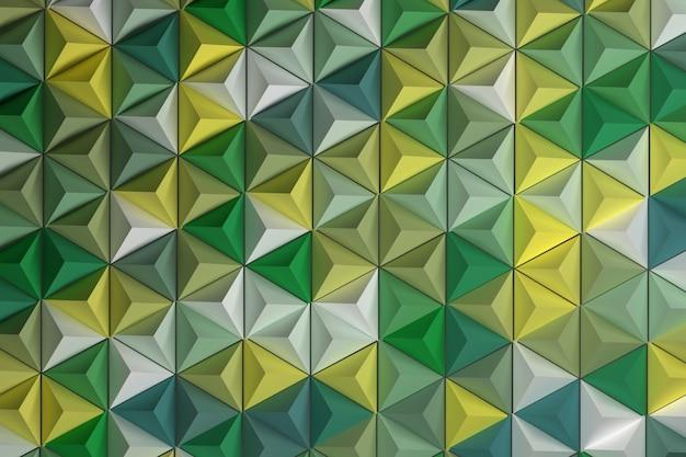 ランダムに色付けされた三角形を繰り返すピラミッドのパターン
