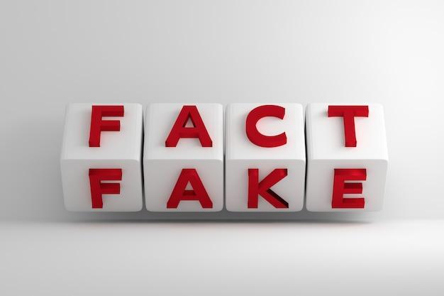 白い大きな反転キューブ上の赤い事実偽の言葉