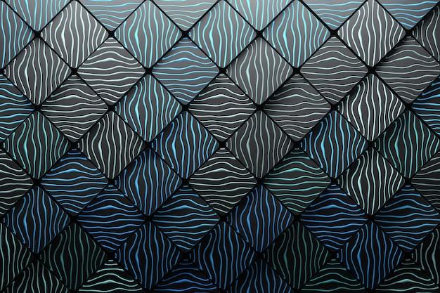 波溝と多角形の正方形で作られた背景