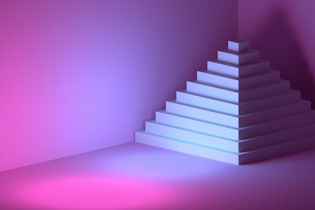 ピンクブルーの部屋で複数のステップを持つピラミッド