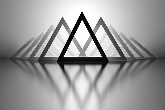 ミラーの床の上の三角形の背景