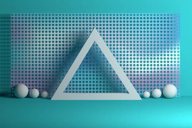 Геометрическая композиция с сеткой треугольных сфер