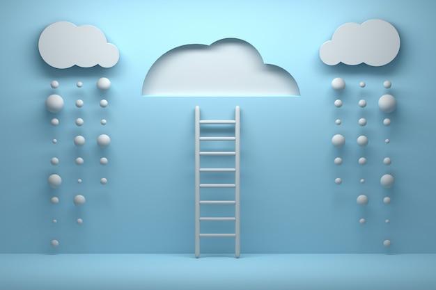 Лестница, ведущая к ясному небу с облаками и падающим дождем