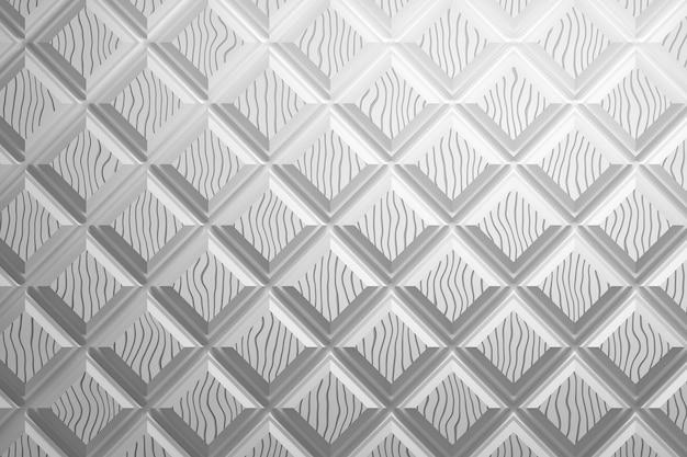 Белый узор с квадратами и уникальным волнистым узором