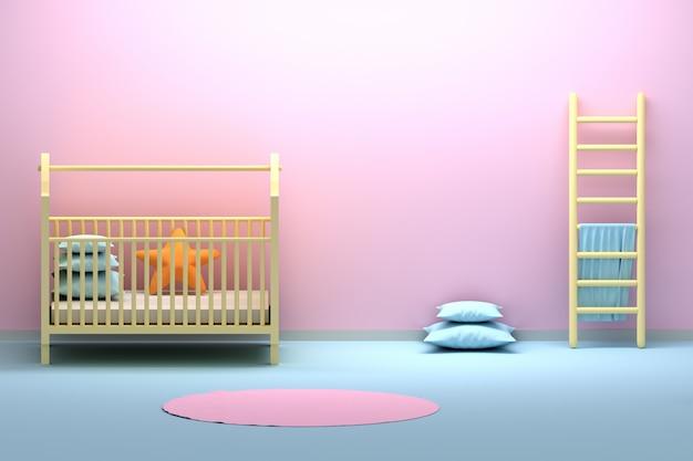 Детская комната для новорожденных с колыбелью, лестницей и пустой стеной