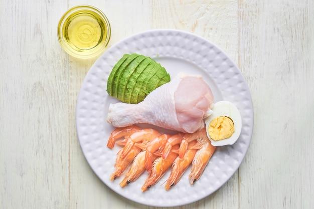 Кетогенная еда концепция - тарелка с высоким содержанием жиров кето пищи