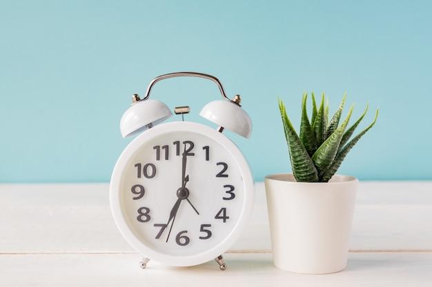 青の背景に鍋にサボテンの横にある木製の棚の上に立っている白い目覚まし時計