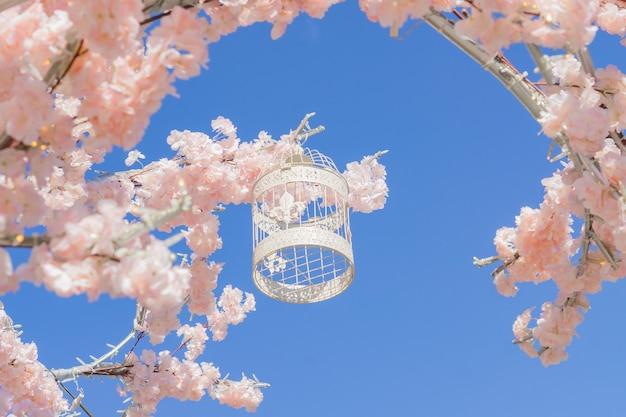空を背景に咲くリンゴの木の枝にぶら下がっている白い装飾的な鳥籠。春の街の装飾