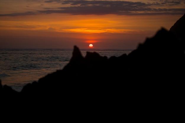 すばらしい夕日のビーチビューのテーマ