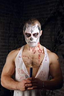 Мужской сахарный череп макияж. искусство рисования лица.
