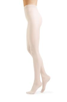 白で隔離される白いストッキングで完璧な女性の足