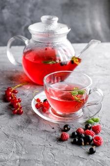 カップとティーポットの赤い果実茶