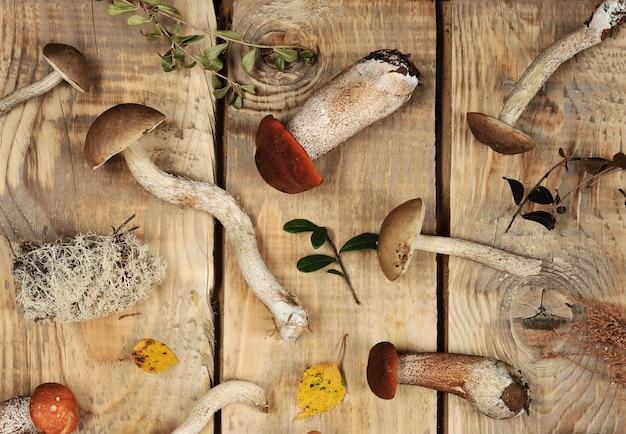 木製の素朴な背景にキノコ