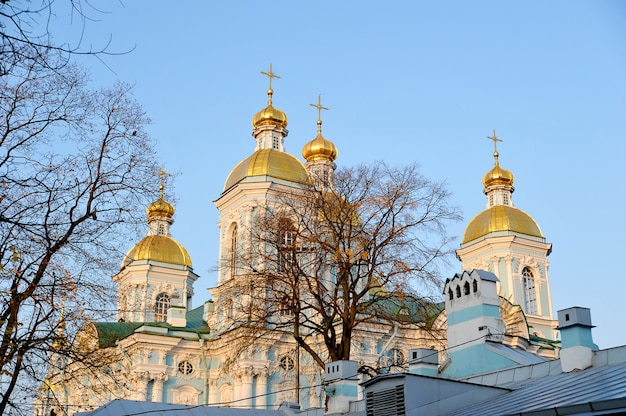 Вид на купол никольского собора в санкт-петербурге