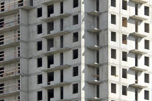 近代的な建物のコンクリートの箱の建設