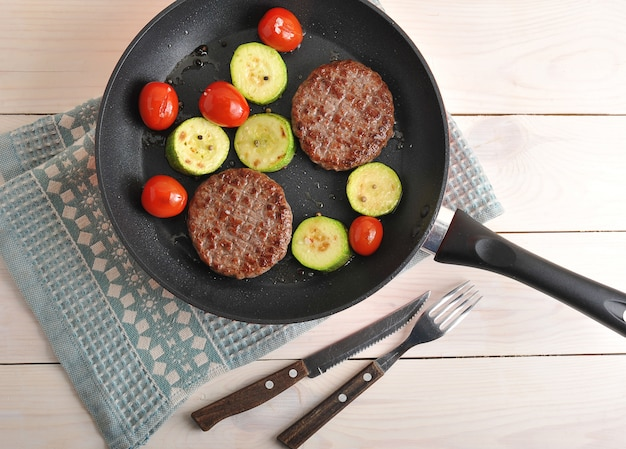 Жареные котлеты из говядины с цуккини и помидорами черри на сковороде