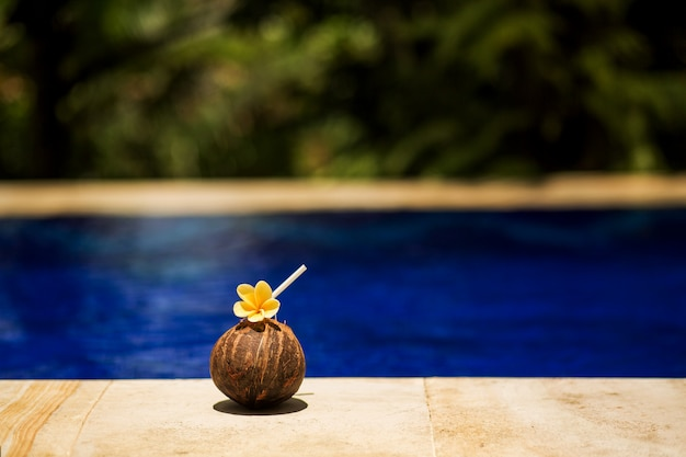スイミングプールの端で、黄色い花と熱帯のココナッツドリンク