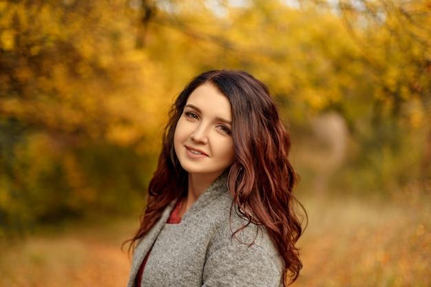 黄色と赤の葉で秋の公園を歩いてグレーのコートセーターの若い美しい女性
