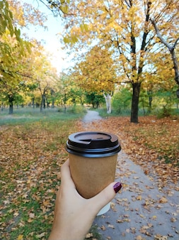 Девушка пьет согревающий горячий напиток, гуляя осенью в парке