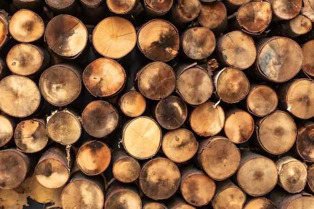 Круглые сплит журналы свалили в строках текстуры древесины.