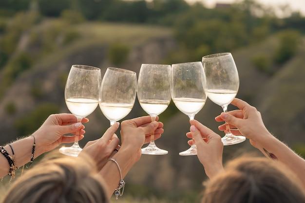 後ろから撃ちます。ゴージャスな女性の友人の会社は、乾杯し、ワインを飲み、丘の風景のピクニックを楽しみます。