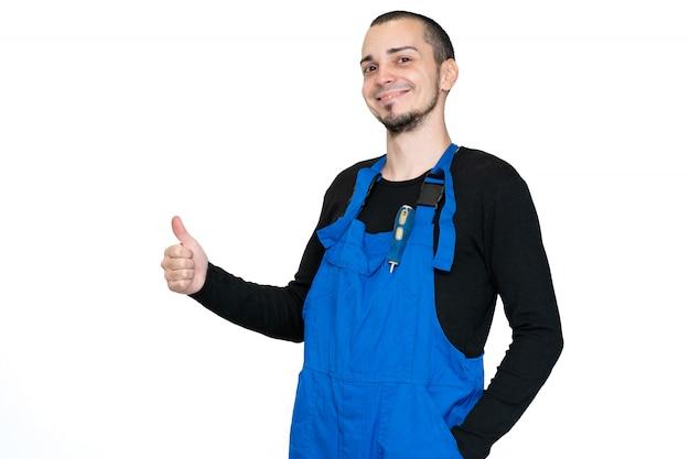 専門の修理、設置、保守技術者。作業着