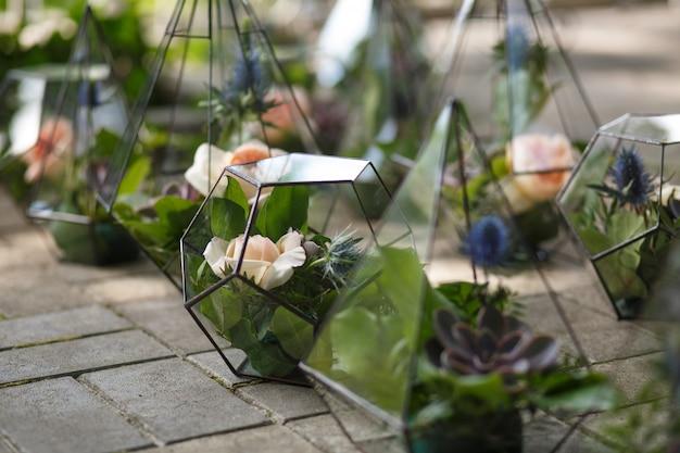 新鮮な多肉植物とバラの花を持つフロラリウム。