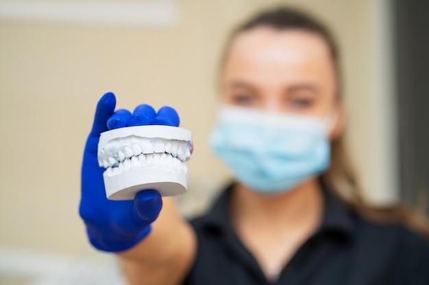 美しい少女専門医師歯科矯正歯科医は顎の石膏ギプスを示しています