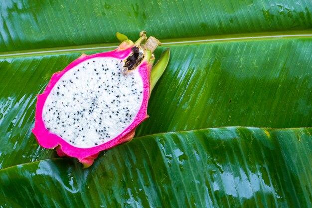 Спелый плод дракона на мокром зеленом листе