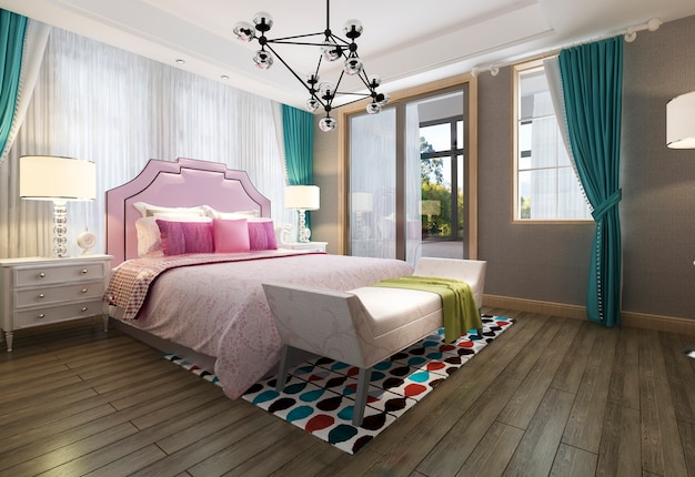 美しいピンクのパステル調のヴィンテージの子供の寝室
