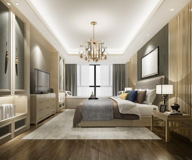 Красивая роскошная спальня в отеле с телевизором