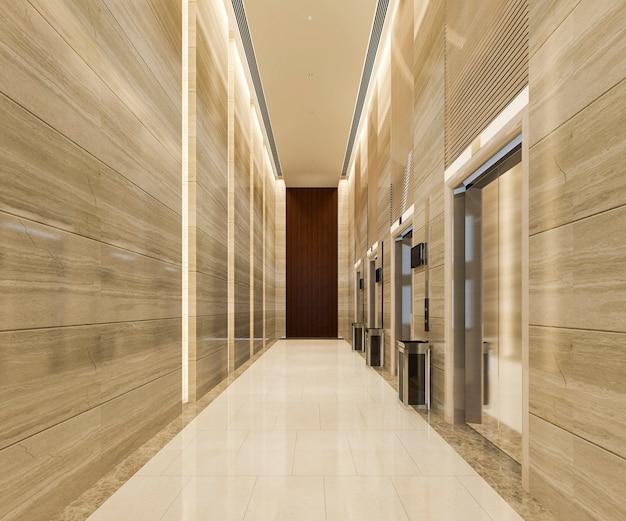 廊下近くの豪華なデザインのホテルのロビーを持ち上げる