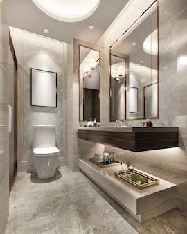 豪華でモダンなデザインのバスルームとトイレ