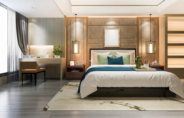 Красивая роскошная спальня в отеле с телевизором и рабочим столом