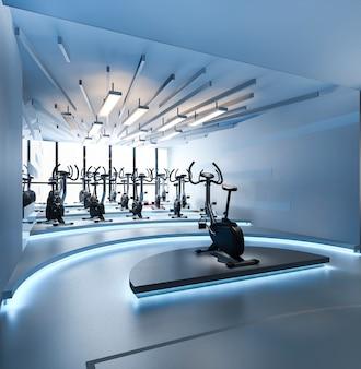 Современный синий свет тренажерный зал и фитнес