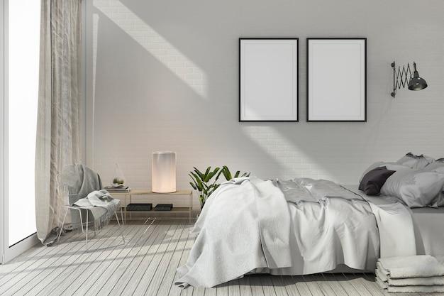 レンダリングは白のトーンの木と北欧の寝室をモックアップします。
