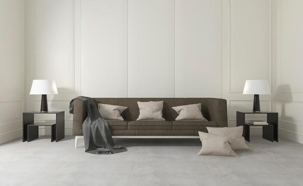 快適なソファとランプのある白いクリーンルーム