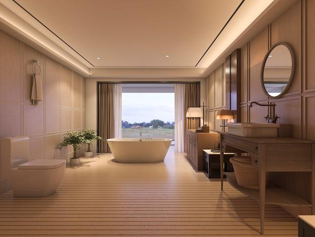 クラシックな家具と美しい景色を望む豪華なバスルーム