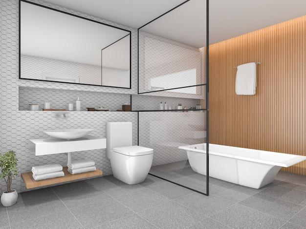 Белая шестиугольная плитка для ванной комнаты с деревянной отделкой